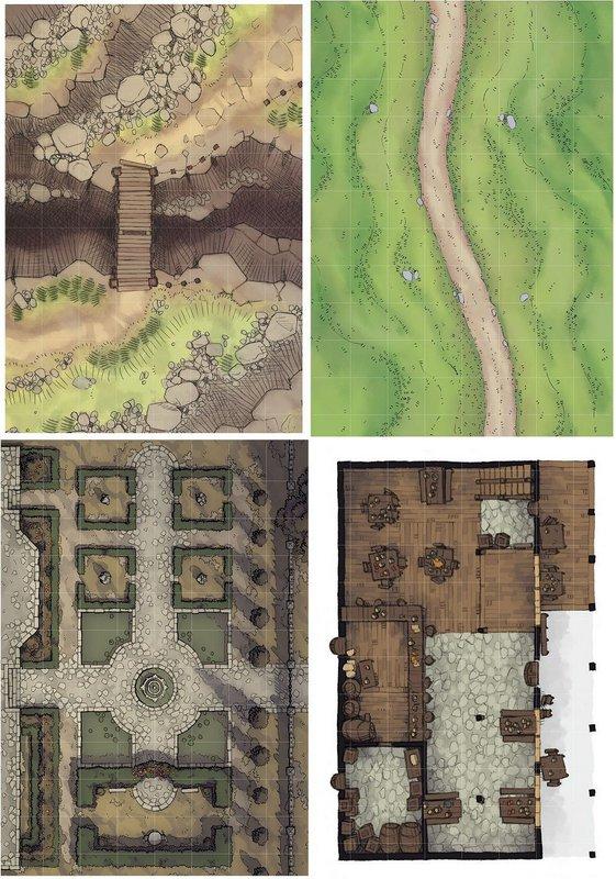 Playmat RPG Grid 25mm (Kit com 4)
