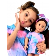 Kit Filha & Boneca T-shirt Artesanal Tie Dye Rosa e Azul