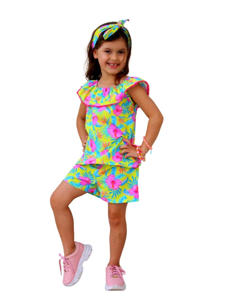 Conjunto Blusa Gipsy e Short Flores Rosa & Amarelo