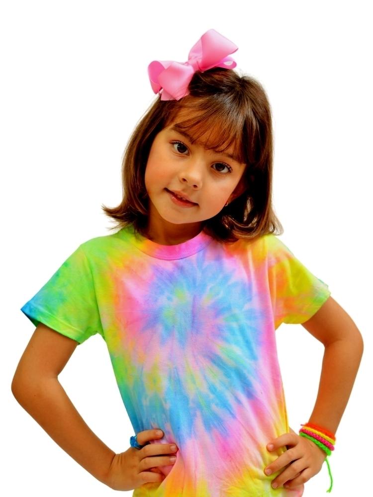T- shirt Artesanal Tie Dye  Amarelo,  Rosa, Azul e Verde