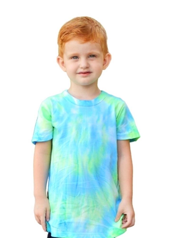 T- shirt Artesanal Tie Dye Azul e Verde