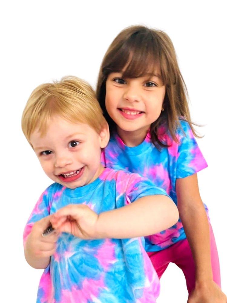 T- shirt Artesanal Tie Dye Rosa e Azul
