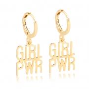 Argola Folheada Fina Girl PWR - Power Woman