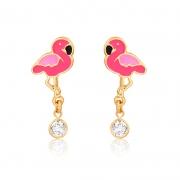 Brinco Folheado Flamingo Ponto De Luz Tarraxa Baby - Infantil