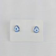 Brinco Folheado Formato Gota Olho Grego - Amuleto
