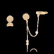 Brinco Folheado Girassol Piercing Cravejado  Zircônia - Natureza