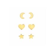 Brinco Folheado Trio Coração Lua e Estrela