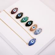 Colar Folheado Olho Grego Transparente Azul - Amuleto
