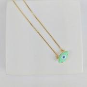 Colar Folheado Olho Grego Verde Água Delicado - Amuleto