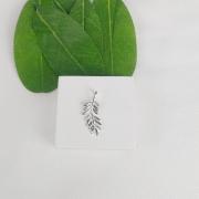Pingente Prata Folha Com Zircônia - Natureza