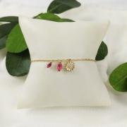 Pulseira Folheada Girassol Pedra Rosa - Natureza