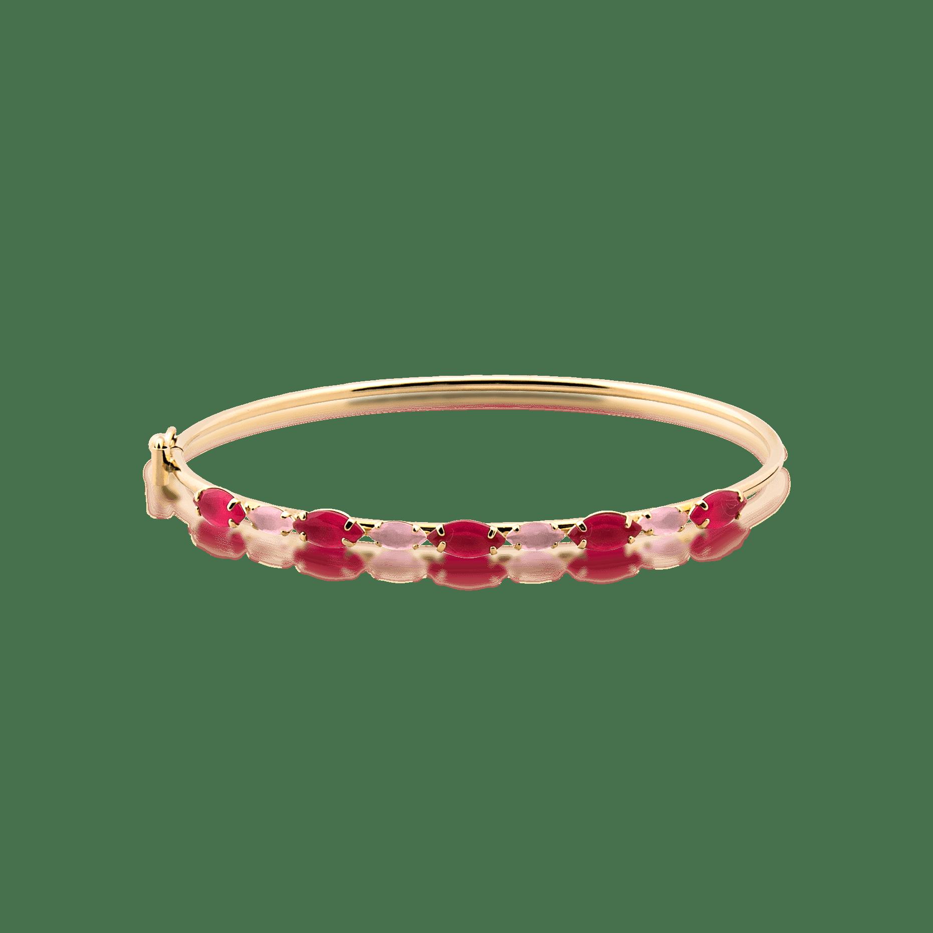 Bracelete Folheado Com Pedra - Natureza
