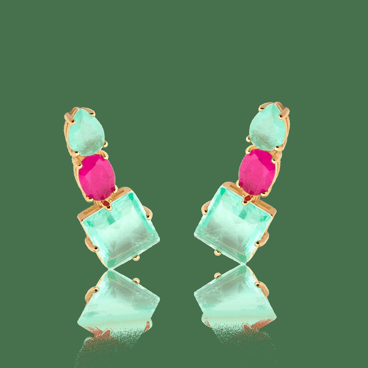 Brinco Ear Cuff Folheado Com Pedra - Natureza