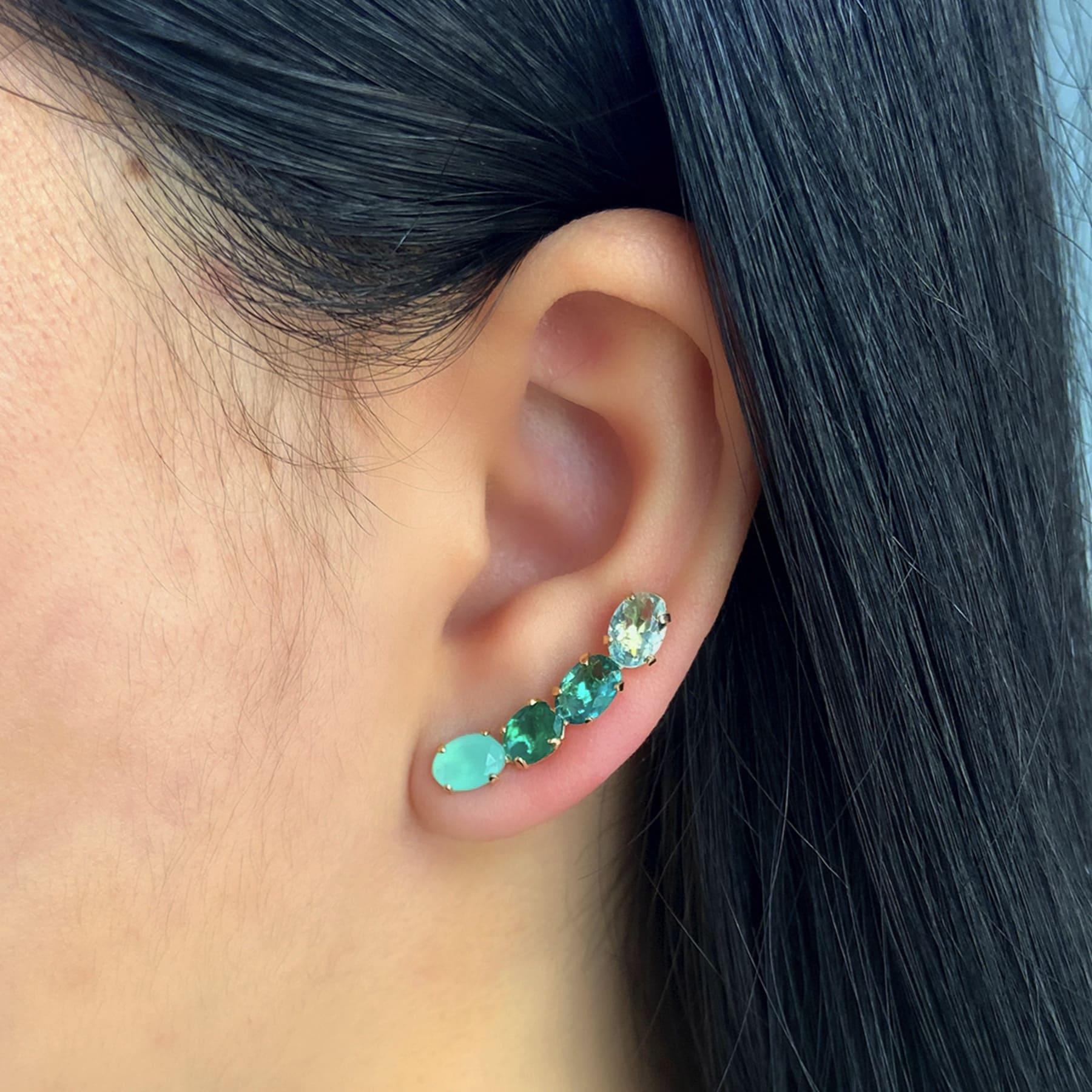 Brinco Ear Cuff Folheado Com Zircônia Colorida - Natureza