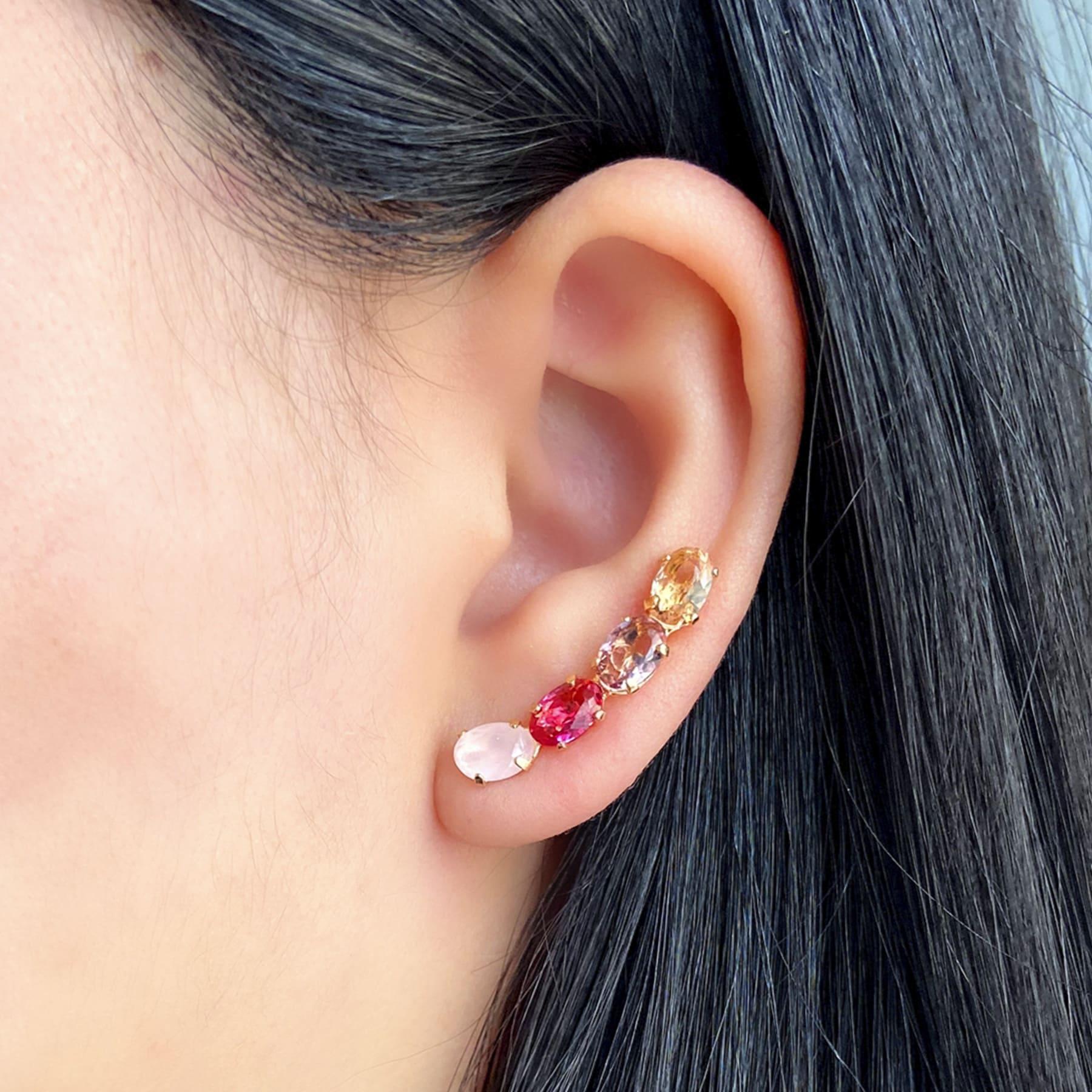 Brinco Ear Cuff Folheado Com Zircônia - Natureza