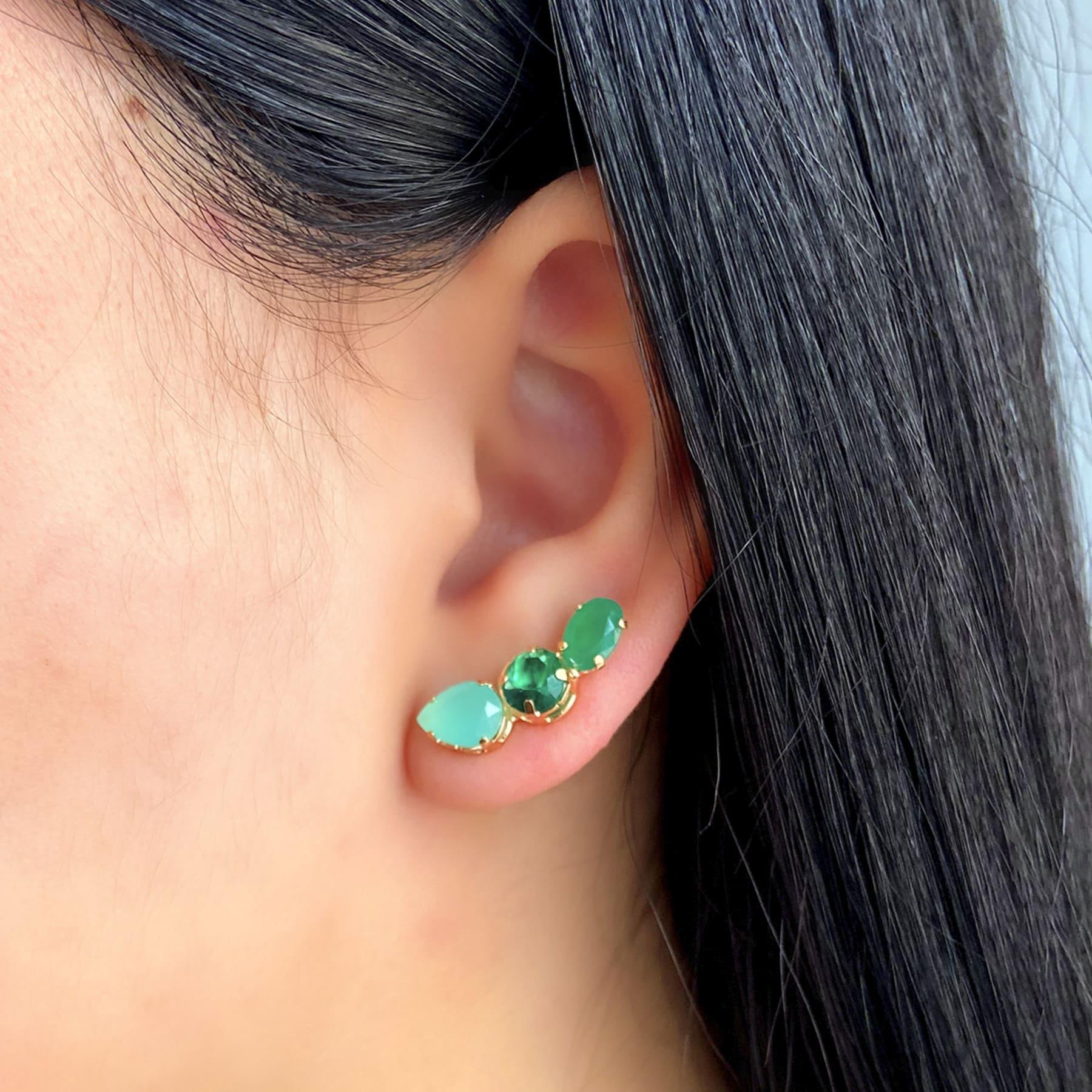 Brinco Ear Cuff Folheado Com Zircônias Coloridas - Natureza