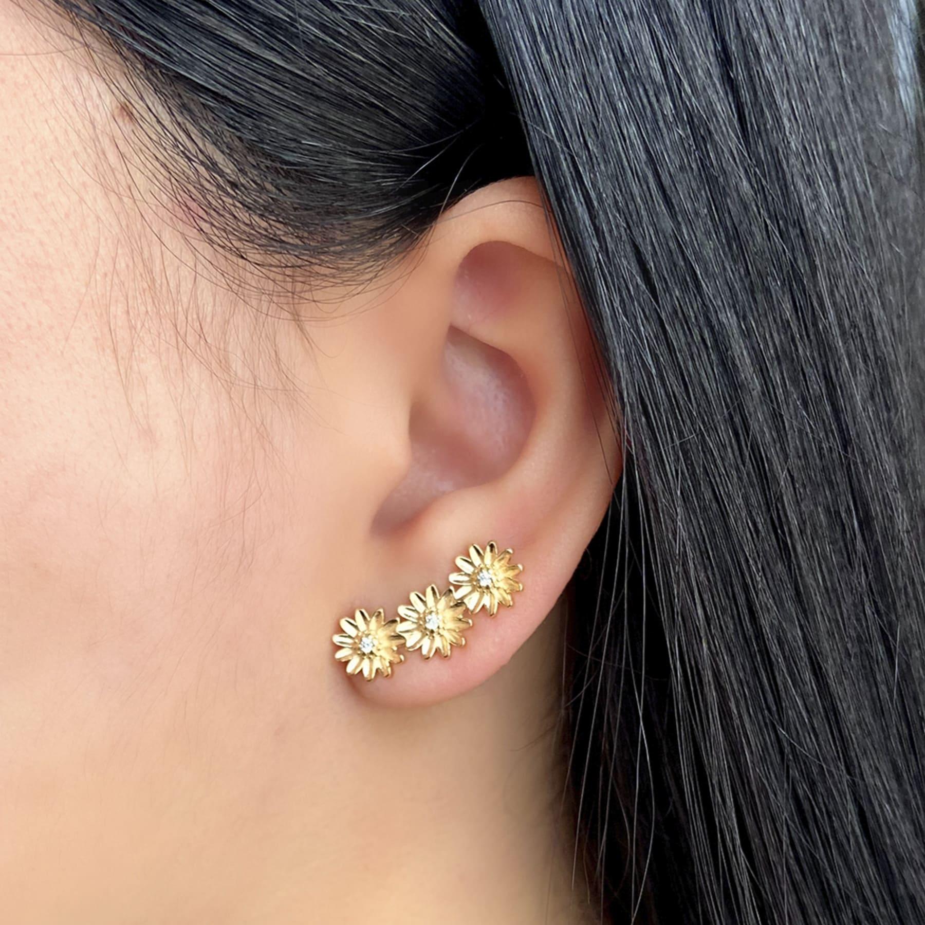 Brinco Ear Cuff Folheado Girassol - Natureza
