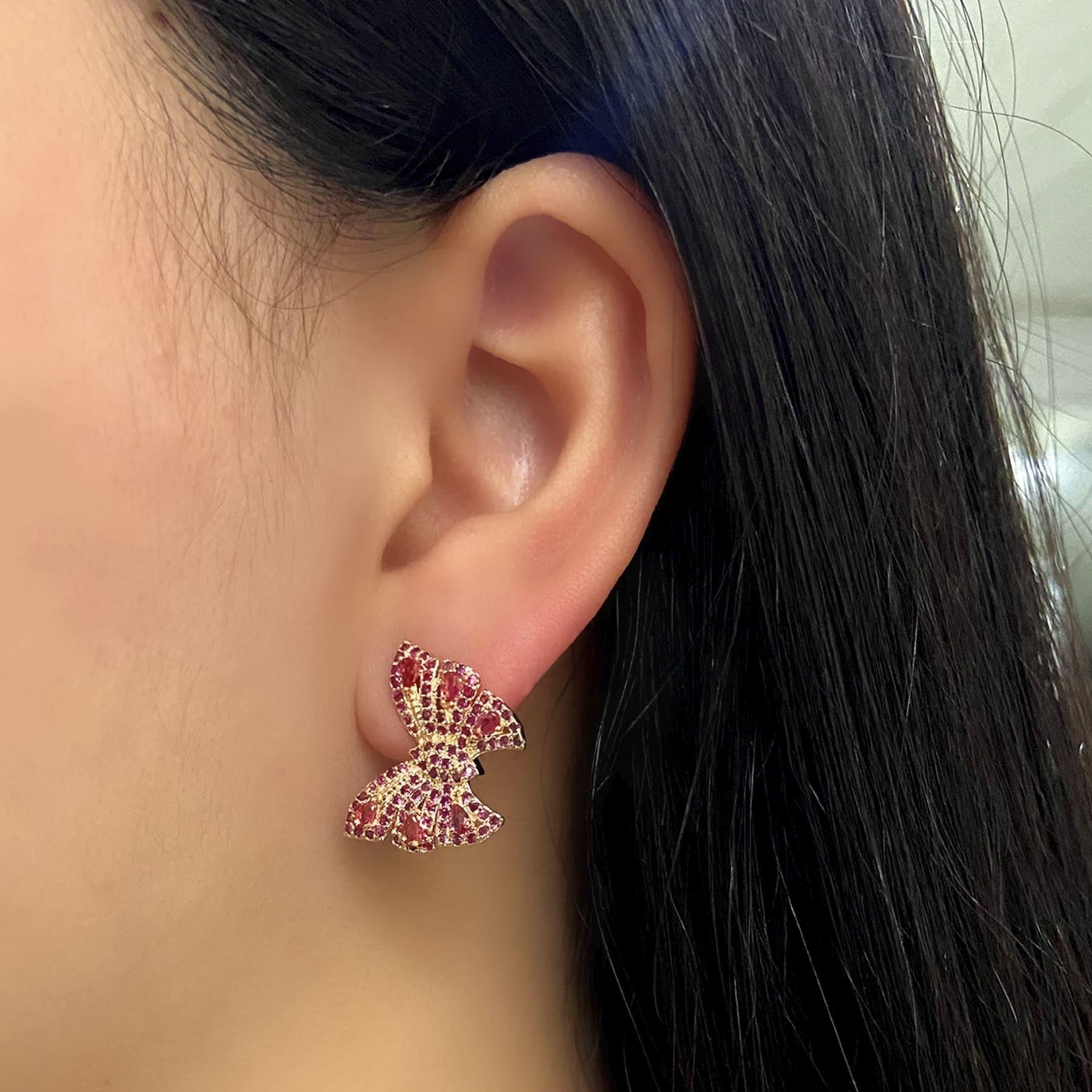 Brinco Folheado Borboleta Cravejada Zircônia Rosa - Natureza