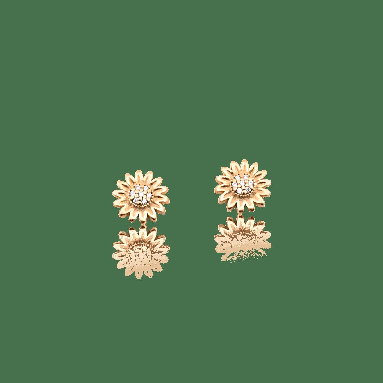 Brinco Folheado Girassol Cravejado Zircônia - Natureza