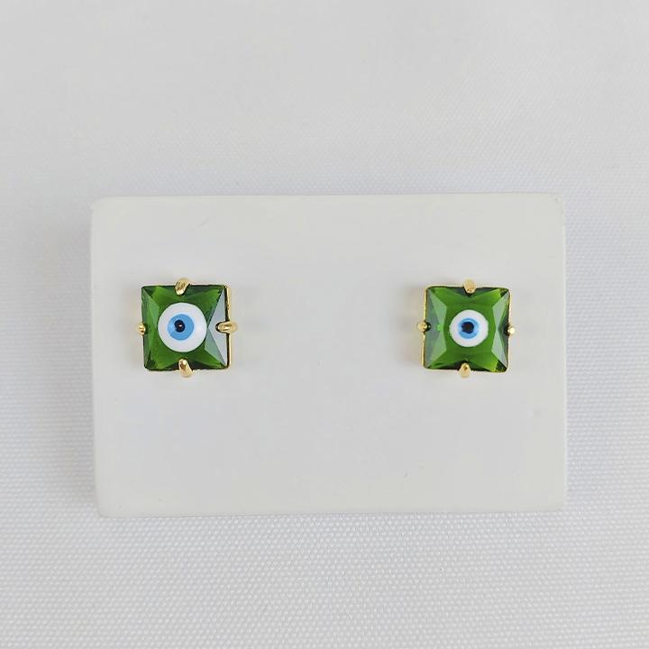 Brinco Folheado Olho Grego Quadrado Verde - Amuleto
