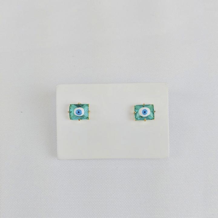 Brinco Folheado Olho Grego Verde Água - Amuleto