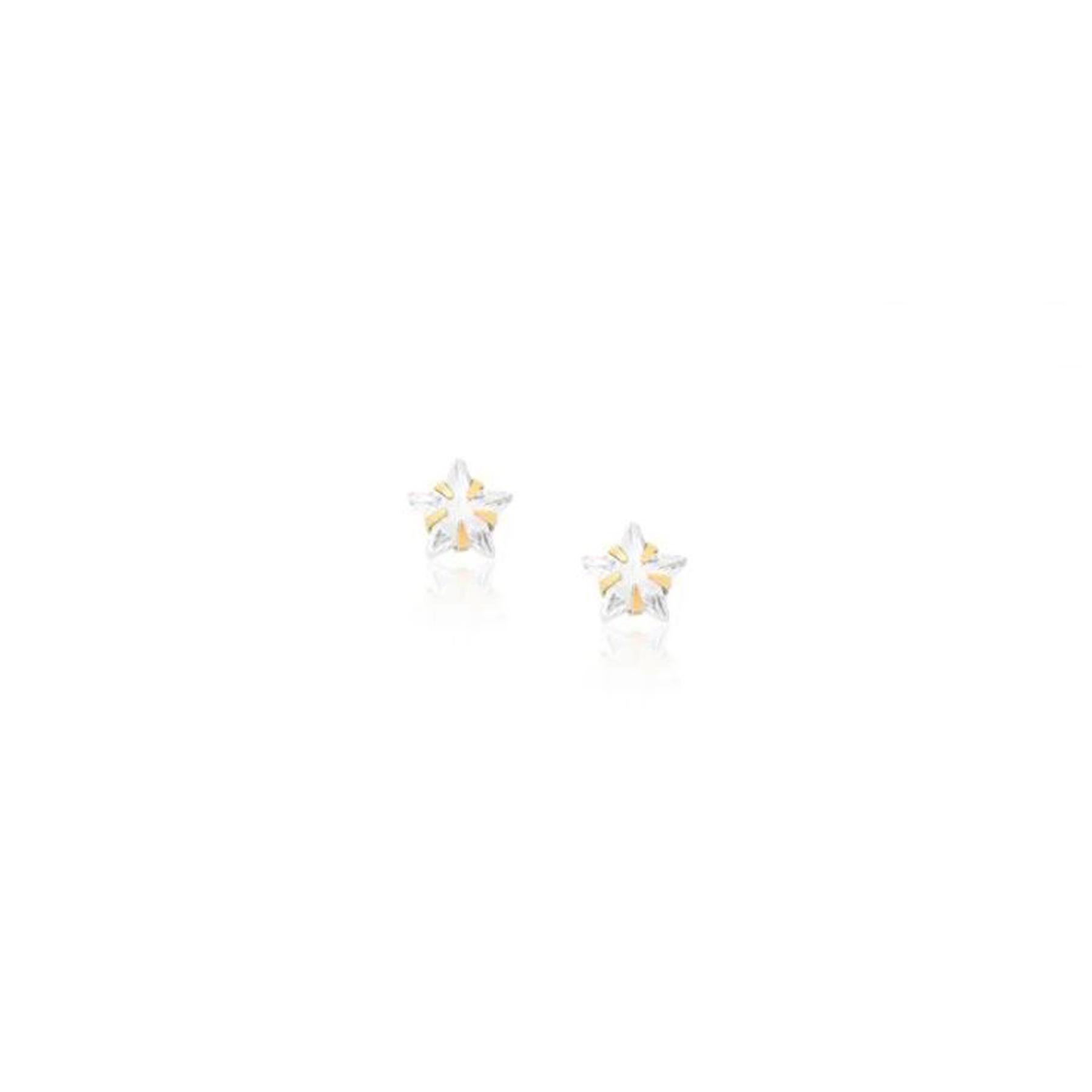 Brinco Folheado Ponto de Luz Estrela 6mm