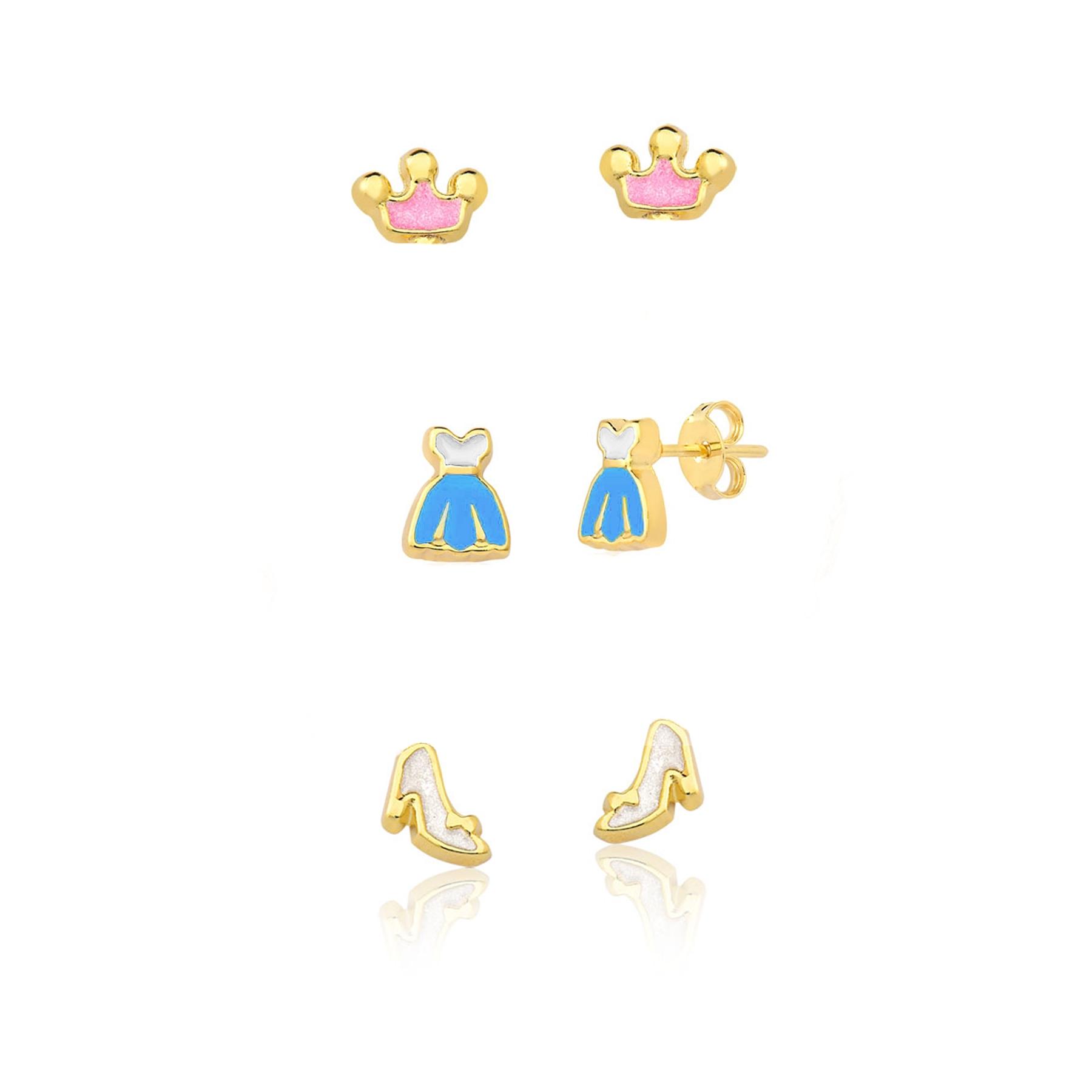 Brinco Folheado Trio Coroa Vestido e Sapatinho - Infantil