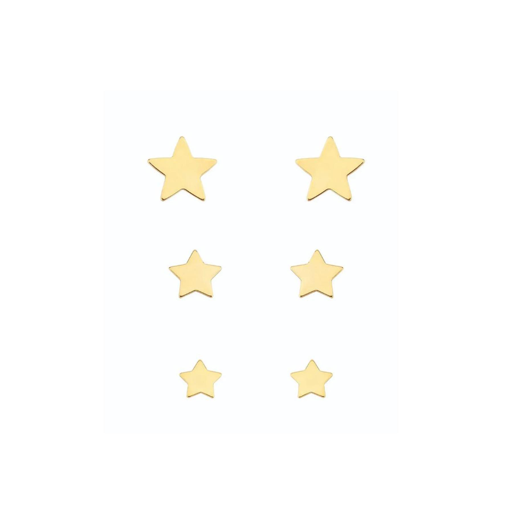 Brinco Folheado Trio Estrelas