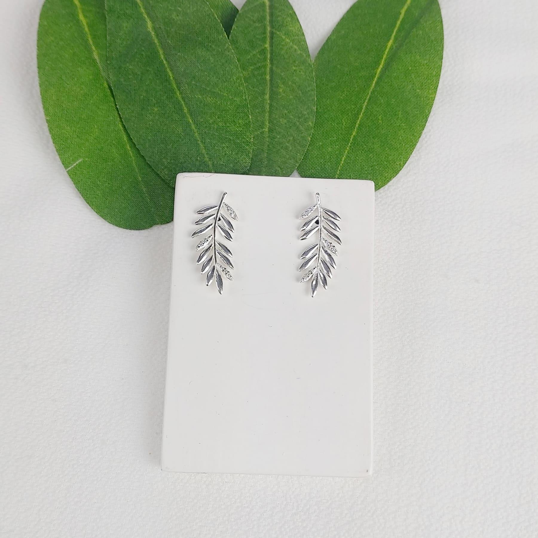 Brinco Prata Folha Com Zircônia - Natureza