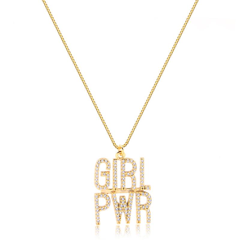 Colar Folheado Girl PWR Cravejado Zircônia Branco - Power Woman