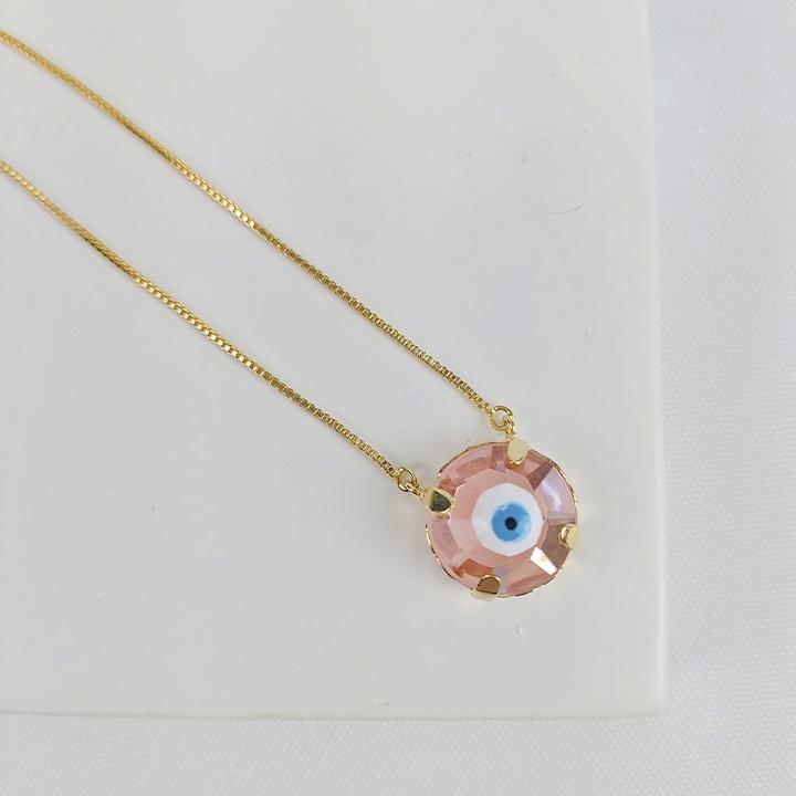 Colar Folheado Olho Grego em Formato Arredondado Rosé - Amuleto