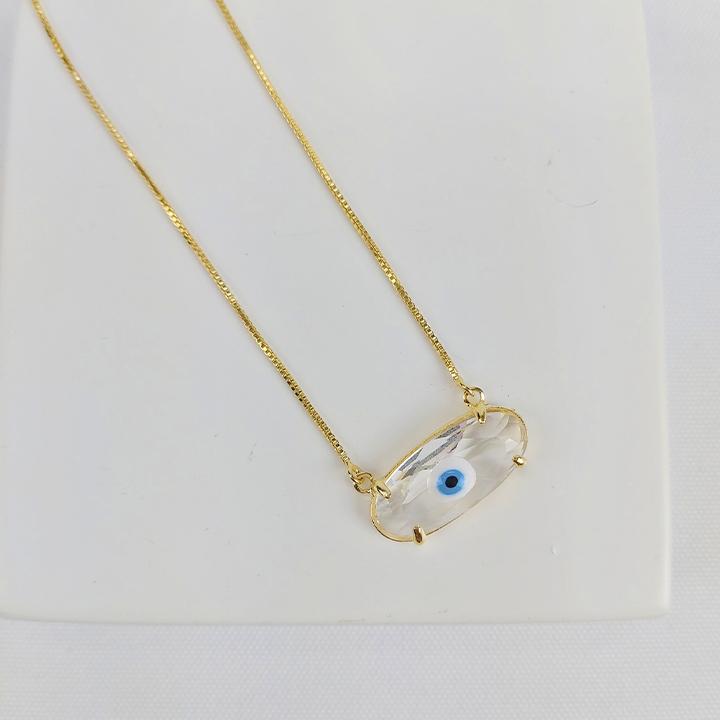 Colar Folheado Oval Olho Grego - Amuleto