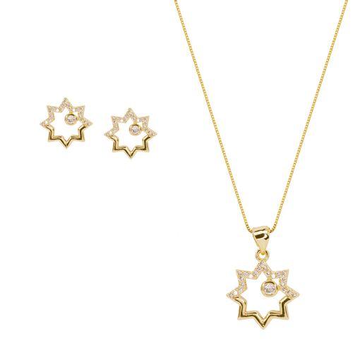 Conjunto Folheado Estrela Detalhes Cravejado Zircônia