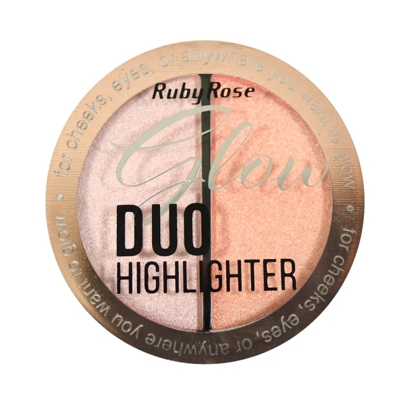 ILUMINADOR GLOW DUO HIGHLIGHTER GLOW RUBY ROSE HB-7522