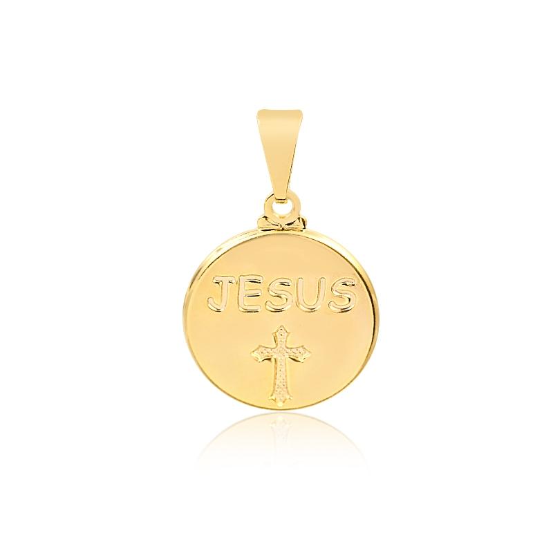 PINGENTE MEDALHA JESUS CRUZ BANHADO EM OURO 18K