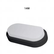 Arandela Oval Flat LED 14W 3000K Bivolt IP65 Preta Demi 9315