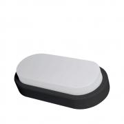 Arandela Oval Flat LED 8W 6500K Bivolt IP65 Preta Demi 9319