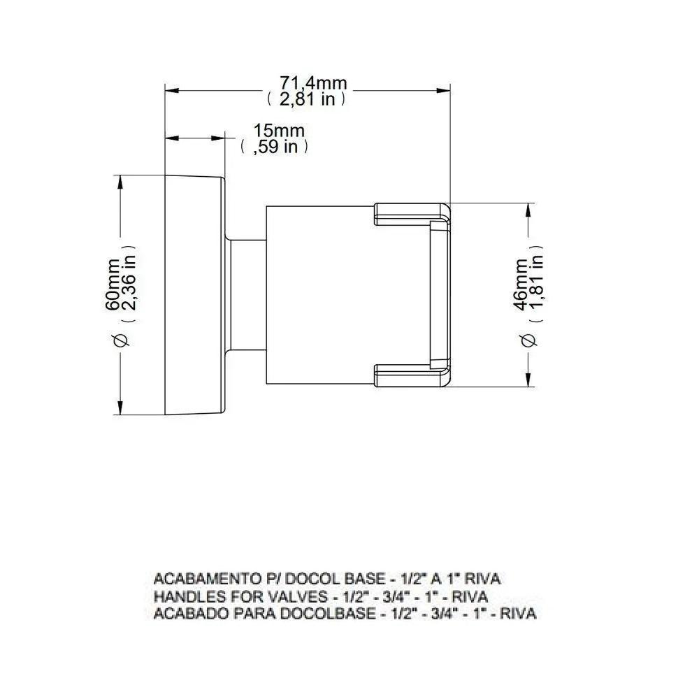 Acabamento para registro 1/2  a 1 Docol Riva 00449606