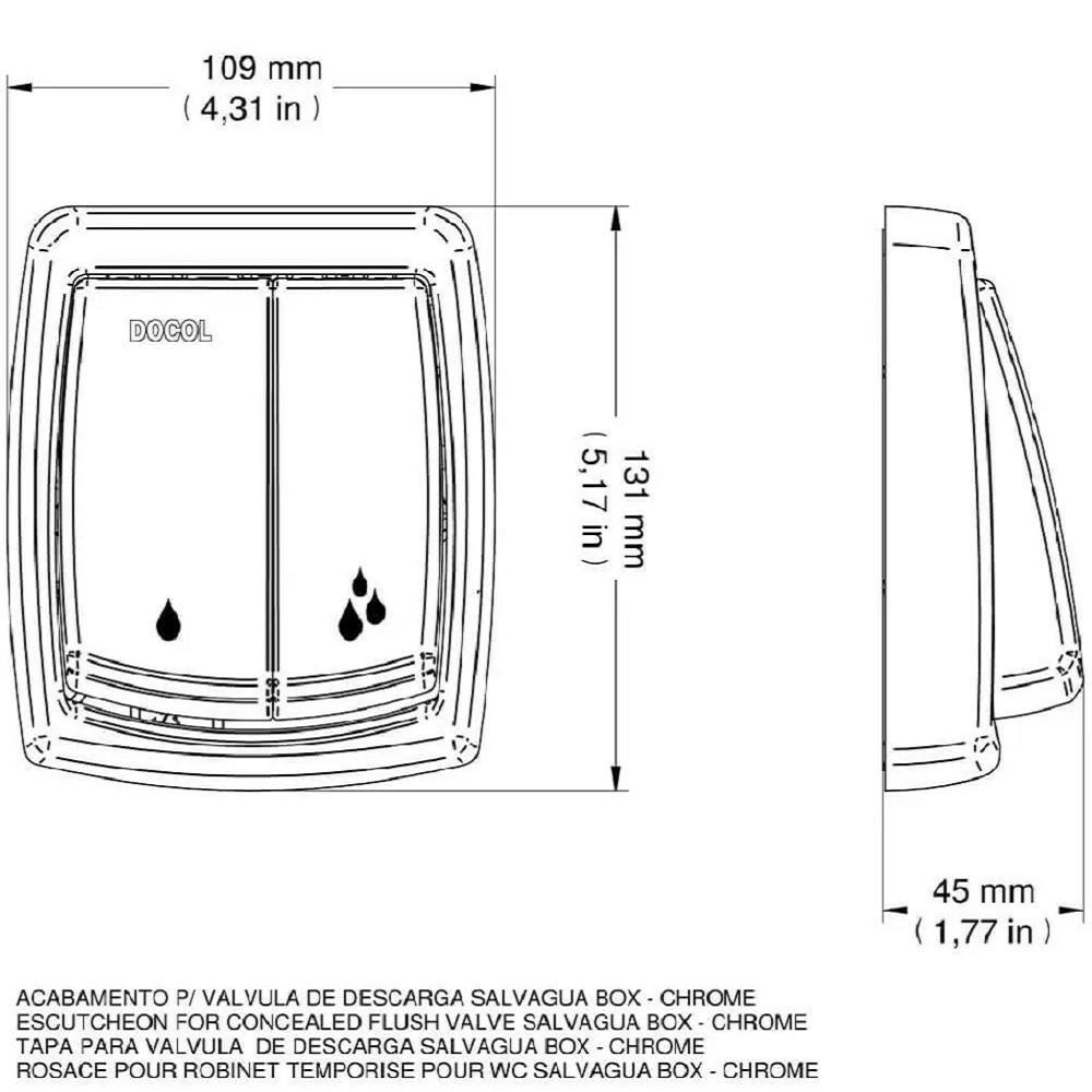 Acabamento para valvula de descarga Salvagua Box Docol 00566806