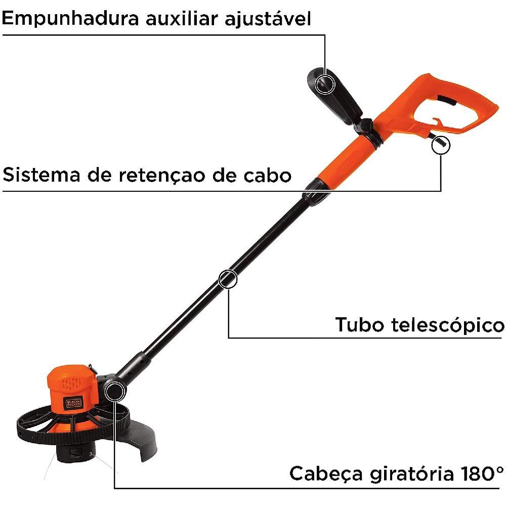 Aparador de Grama com Cabeça Giratoria 11'' 600W 220V Black&Decker GL600N B2