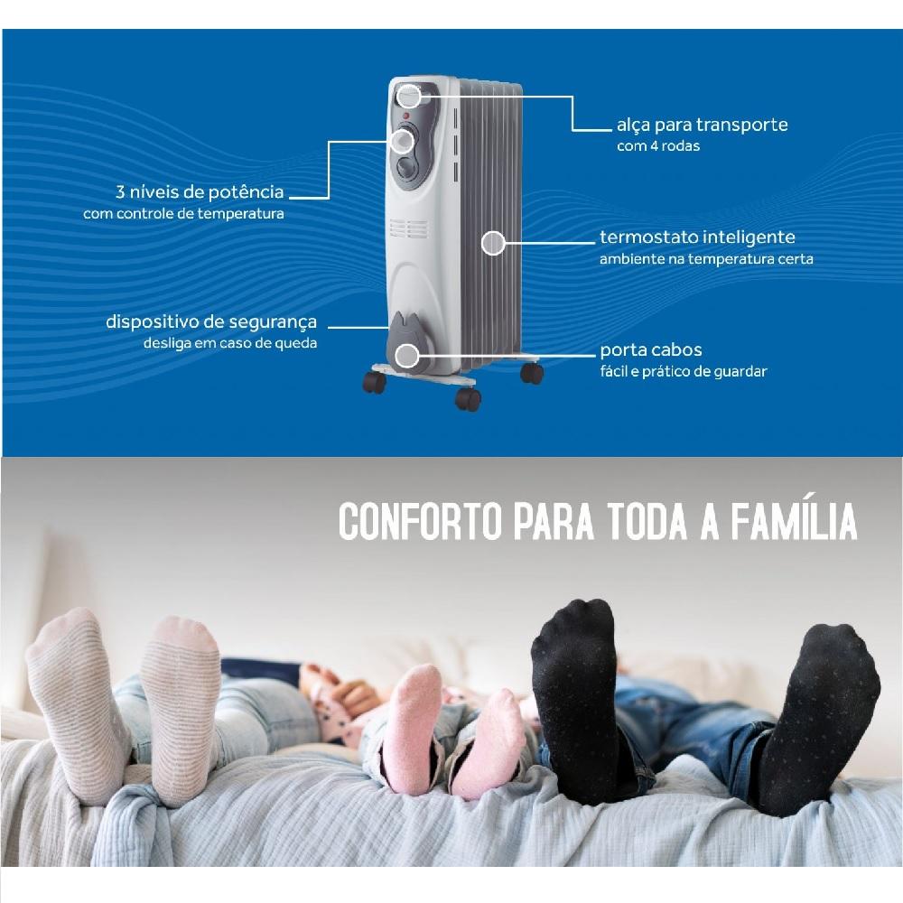 Aquecedor a Oleo Domestico 220V 1500W Cinza Ventisol