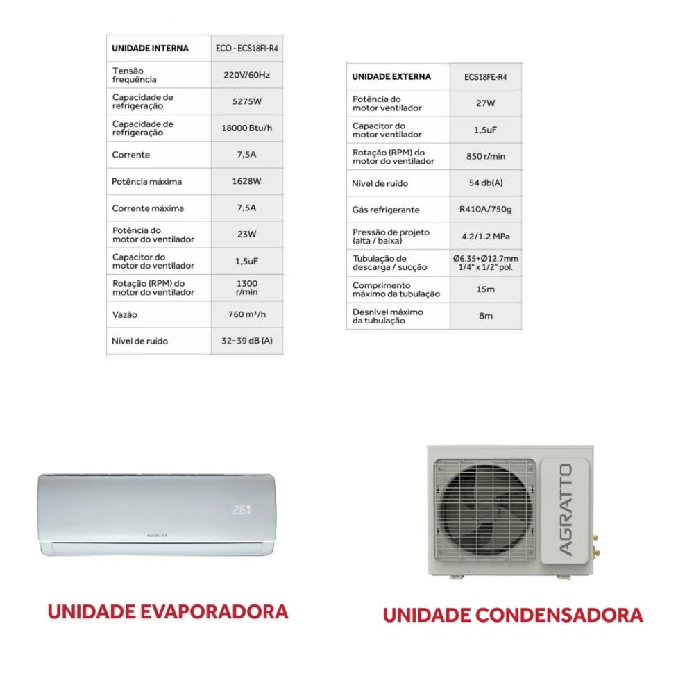 Ar Condicionado Split ECO 18000BTUs Frio 220V Agratto ECS18F R4