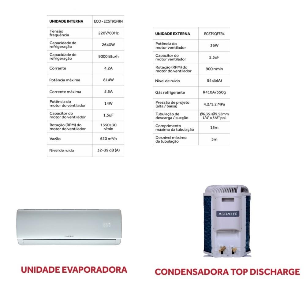 Ar Condicionado Split ECO 9000BTUs Quente Frio 220V Agratto ECST9QFR4