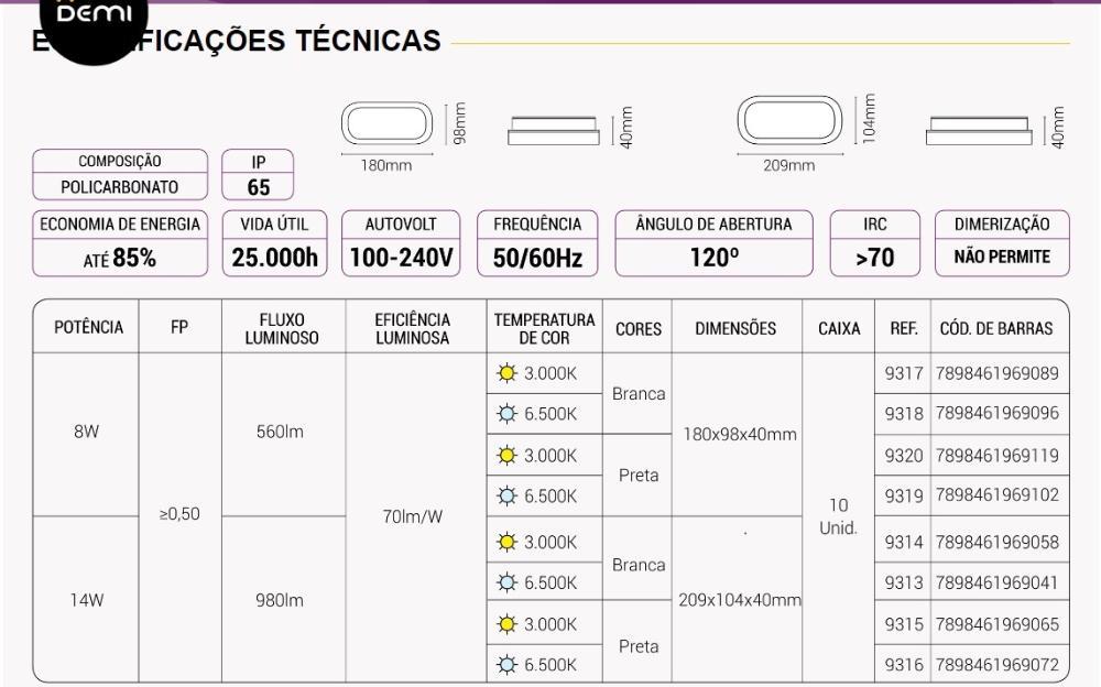 Arandela Oval Flat LED 8W 3000K Bivolt IP65 Branca Demi 9317