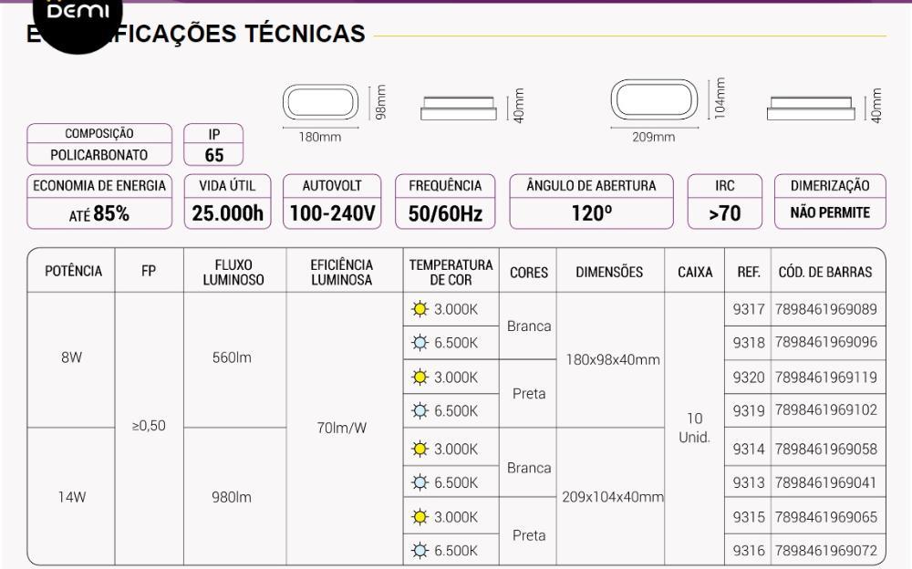 Arandela Oval Flat LED 8W 3000K Bivolt IP65 Preta Demi 9320