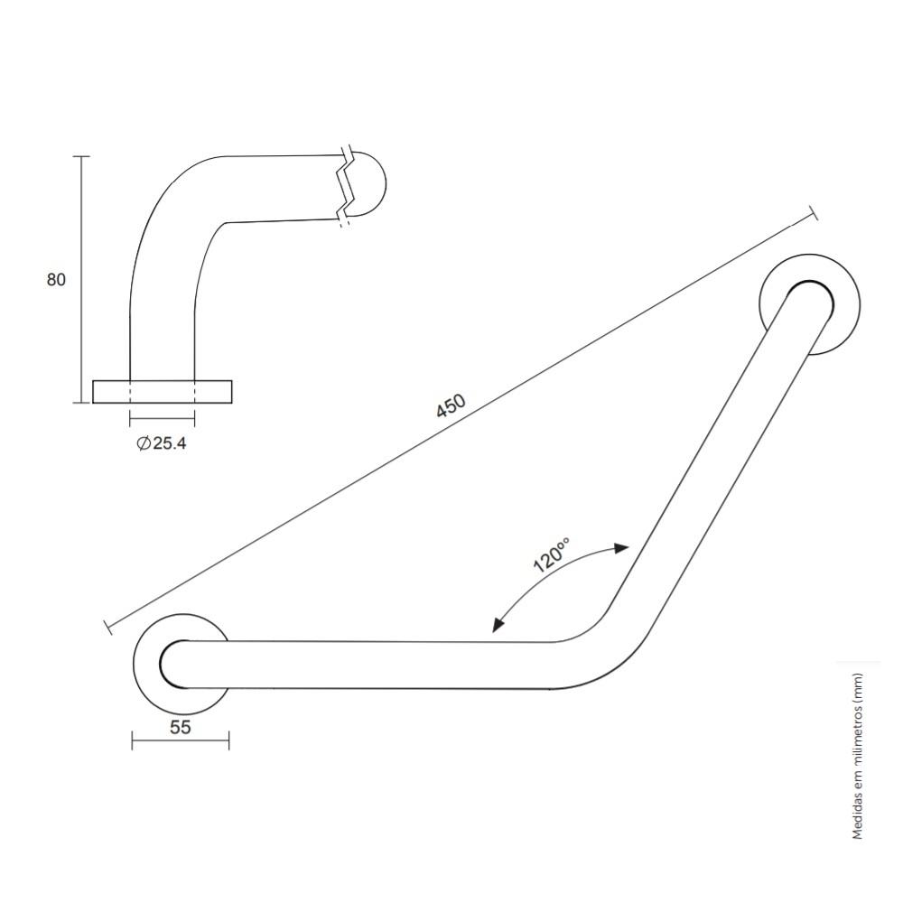 Barra de Apoio Angular Aco Inox 45cm Blukit 290504