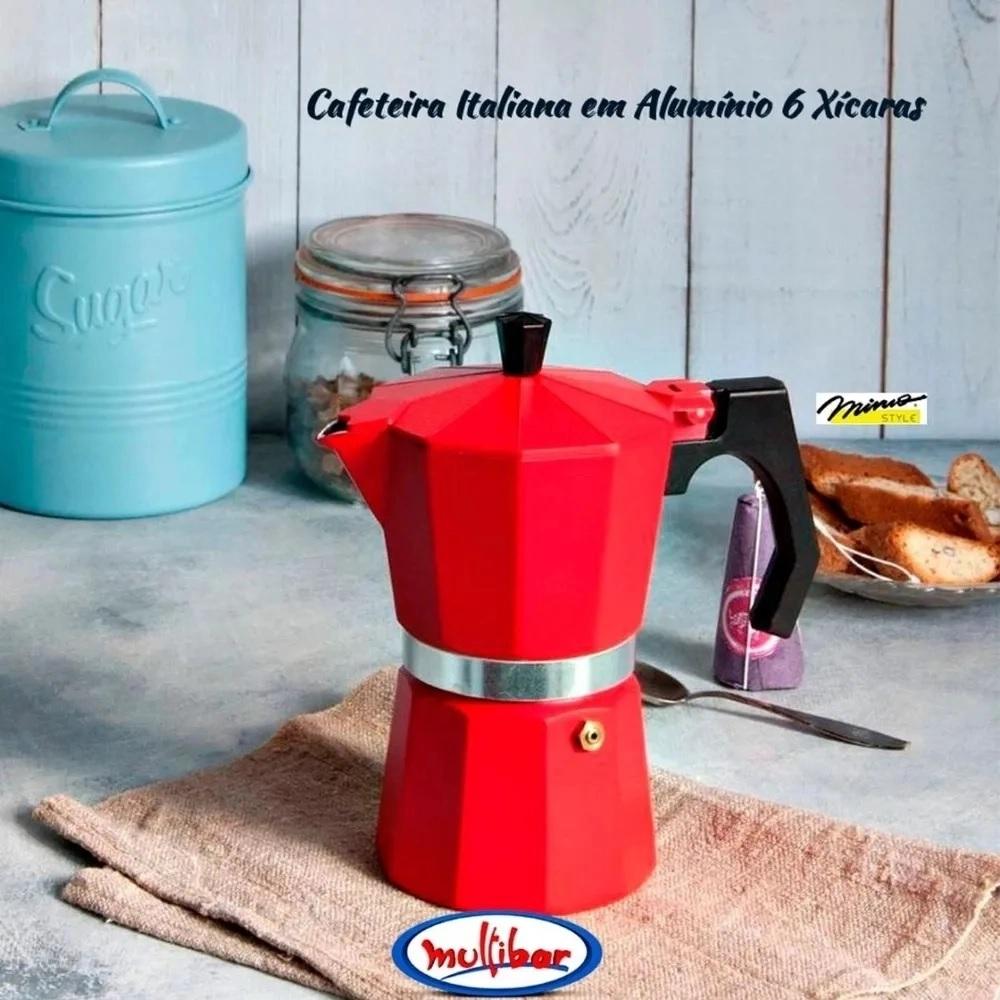 Cafeteira Italiana 6 Xicaras em Aluminio Vermelha Mimo Style AF06