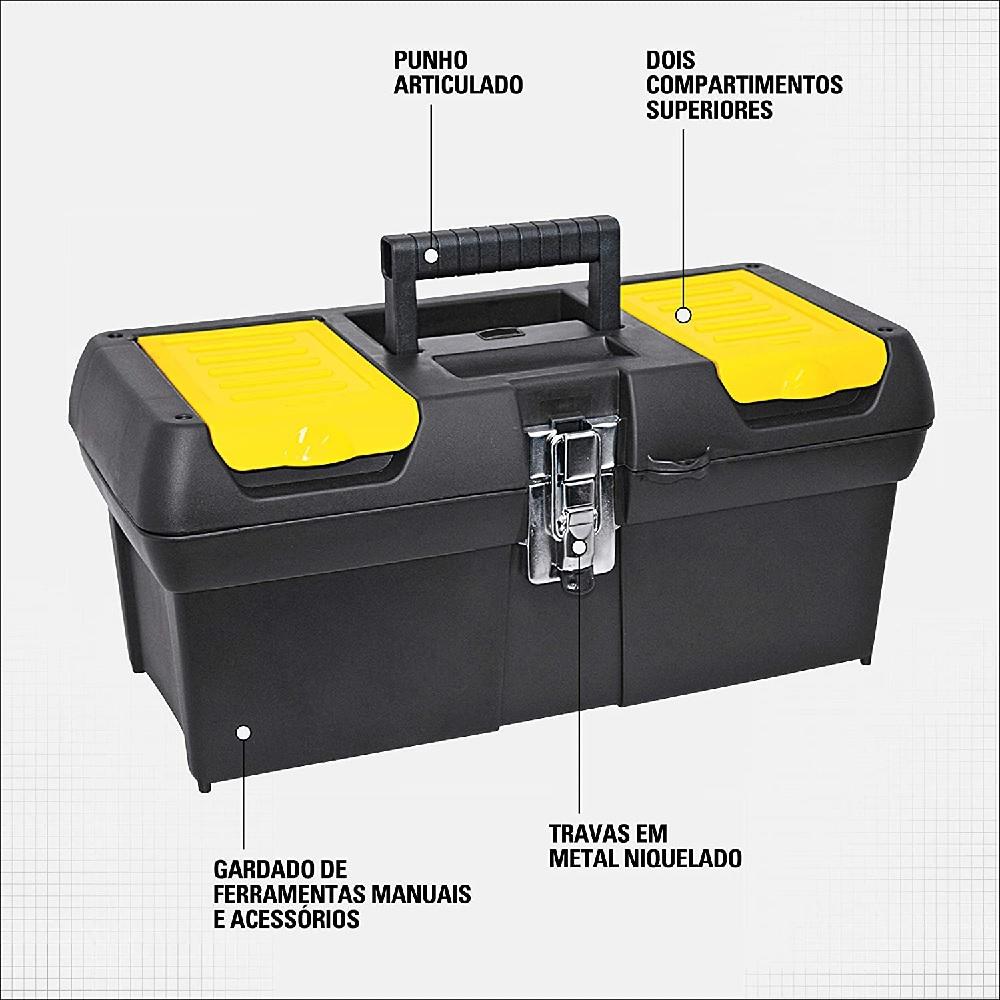 Caixa Plastica de Ferramentas com Bandeja 16 Pol Stanley 16 013