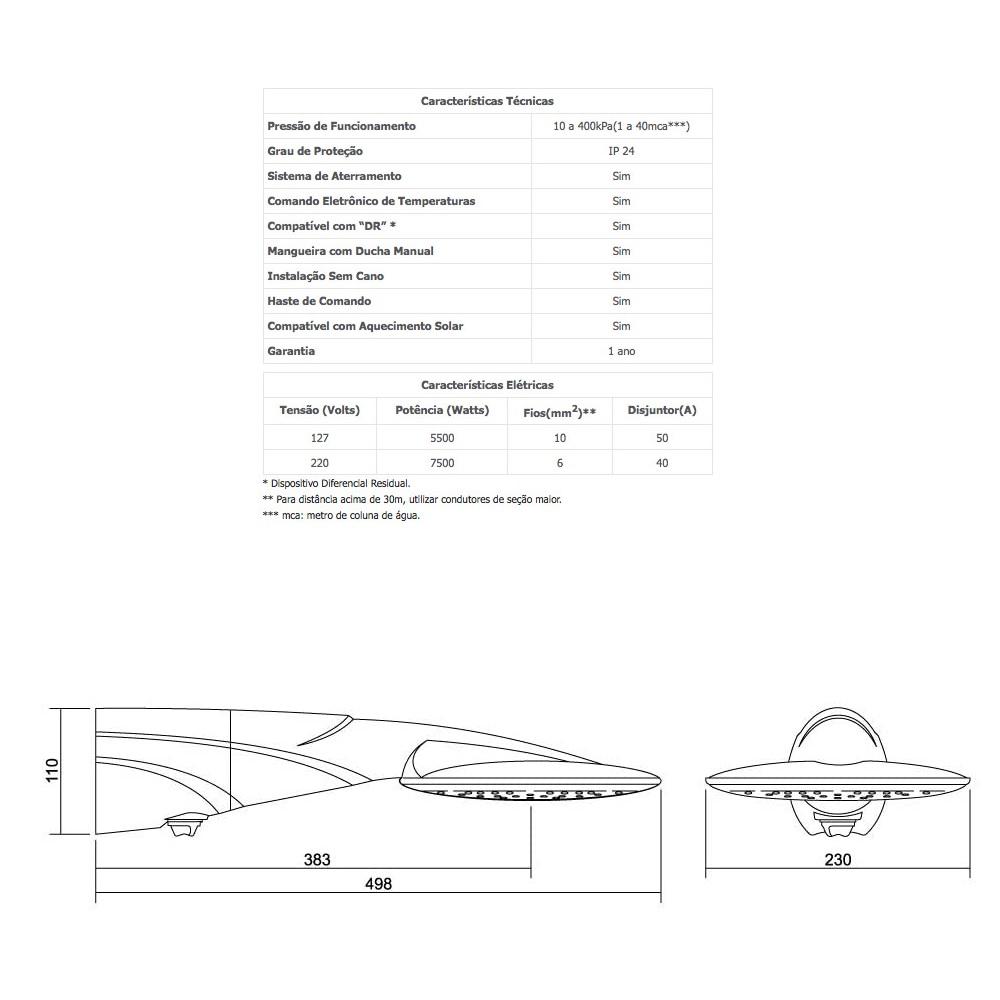 Ducha Eletronica Advanced 7500W 220V Lorenzetti 7510523