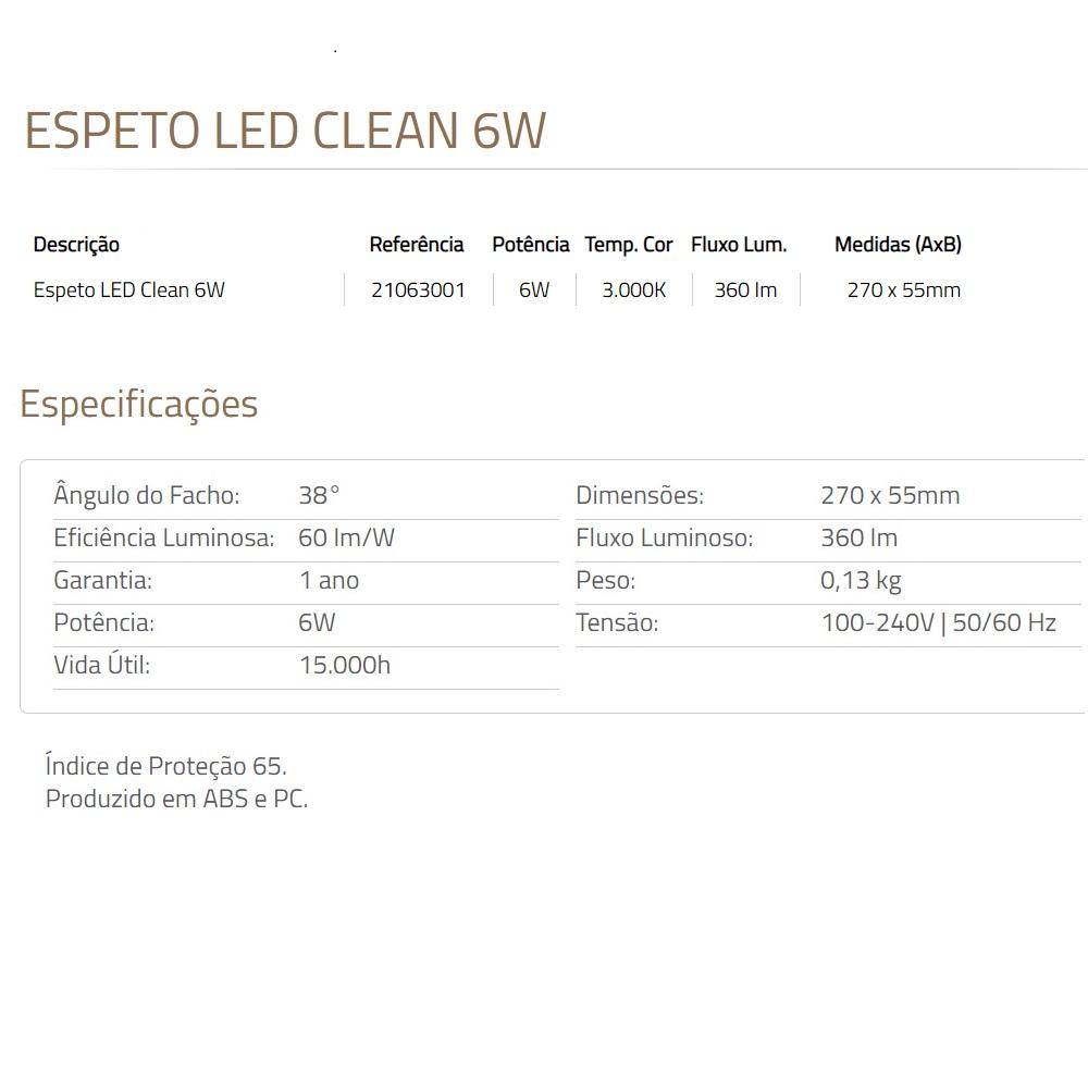 Espeto Jardim LED Clean 6W 3000K Preto Blumenau 21063001